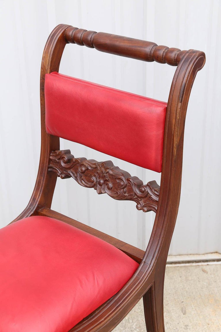 Indian Superbly Crafted Stylized Modern Teak Wood and Fine Leather Dinning Chairs For Sale