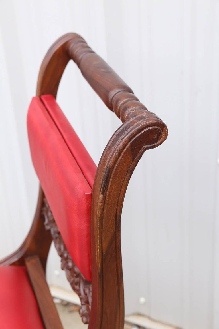 Hand-Crafted Superbly Crafted Stylized Modern Teak Wood and Fine Leather Dinning Chairs For Sale
