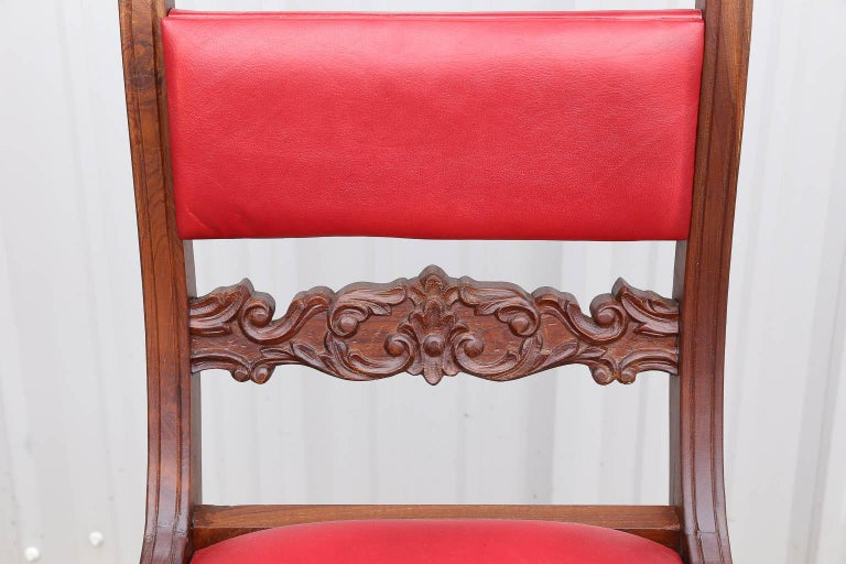 Superbly Crafted Stylized Modern Teak Wood and Fine Leather Dinning Chairs In Excellent Condition For Sale In Houston, TX