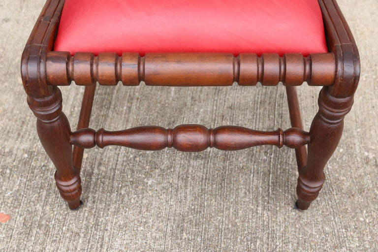 Superbly Crafted Stylized Modern Teak Wood and Fine Leather Dinning Chairs For Sale 2