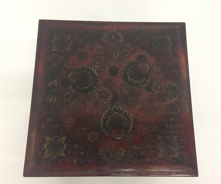 Superbly Rich Pair of Square Asian Style John Widdicomb End Side Tables For Sale 6