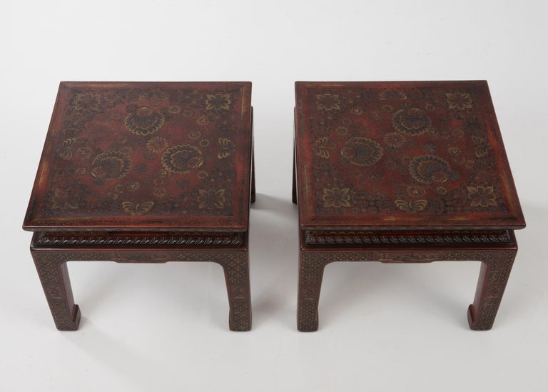 North American Superbly Rich Pair of Square Asian Style John Widdicomb End Side Tables For Sale