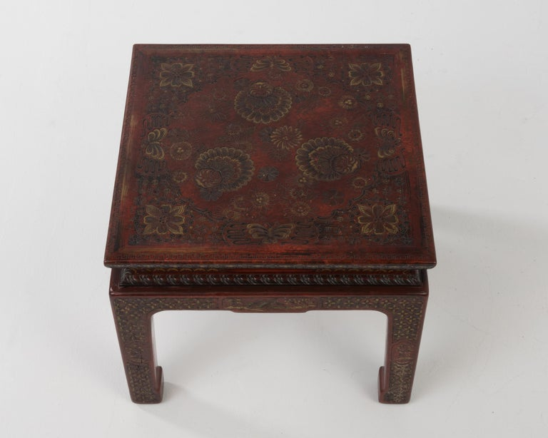 Superbly Rich Pair of Square Asian Style John Widdicomb End Side Tables In Excellent Condition For Sale In Hopewell, NJ