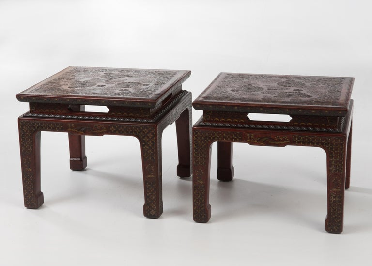 Mid-20th Century Superbly Rich Pair of Square Asian Style John Widdicomb End Side Tables For Sale