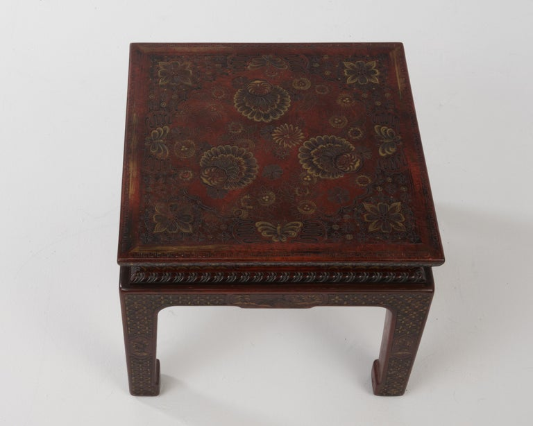Wood Superbly Rich Pair of Square Asian Style John Widdicomb End Side Tables For Sale