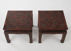 Superbly Rich Pair of Square Asian Style John Widdicomb End Side Tables