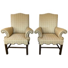 Superbly Styled Dramatic Pair of Designer Club Chairs