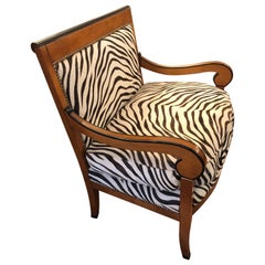 Superbly Stylish Club Chair with Printed Zebra Cowhide Upholstery