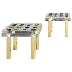 Superego Contemporary Modern Italian Plexiglass and Brass Side Table