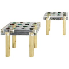 Superego Contemporary Modern Italian Plexiglass and Brass Side Table