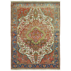 Superfine Handmade Antique Persian Malayer Connoisseur Level Ivory Field Rug
