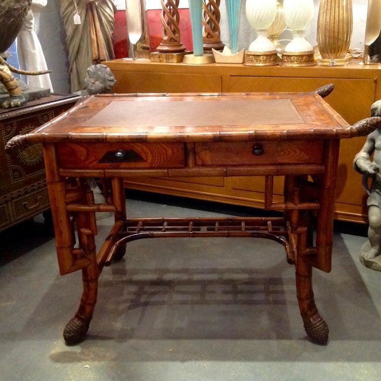 English Superior 19th Century Bamboo Desk For Sale