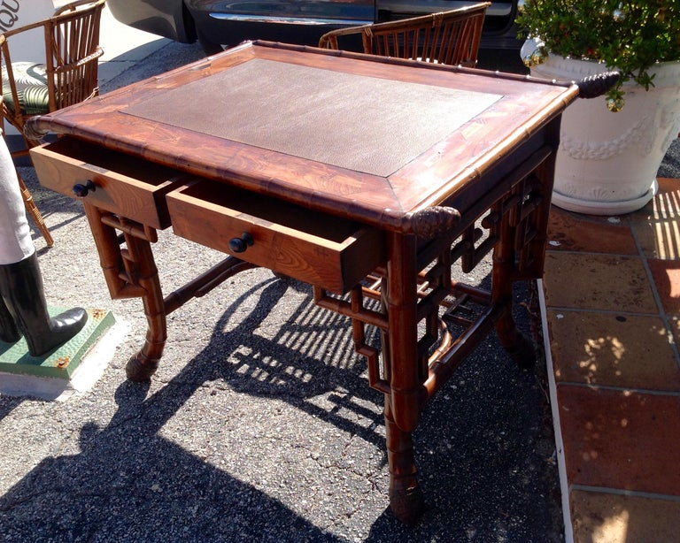 Leather Superior 19th Century Bamboo Desk For Sale