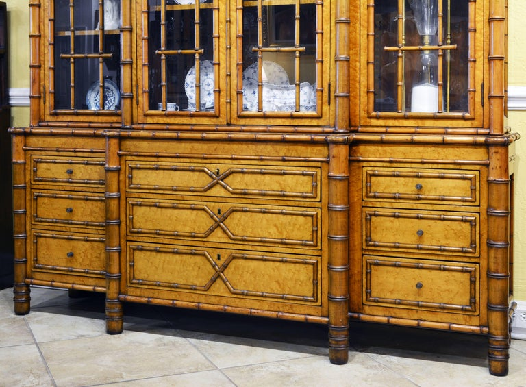 Chinoiserie Superior 19th Century English Faux Bamboo and Birdseye Maple Breakfront Bookcase For Sale
