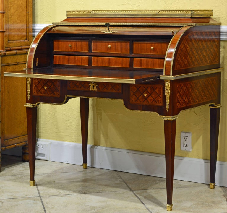 Gilt Superior 19th Century French Louis XVI Style Parquetry/Marquetry Cylinder Desk For Sale