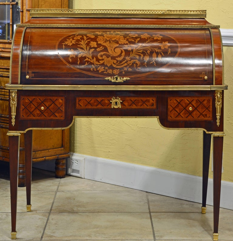 Bronze Superior 19th Century French Louis XVI Style Parquetry/Marquetry Cylinder Desk For Sale