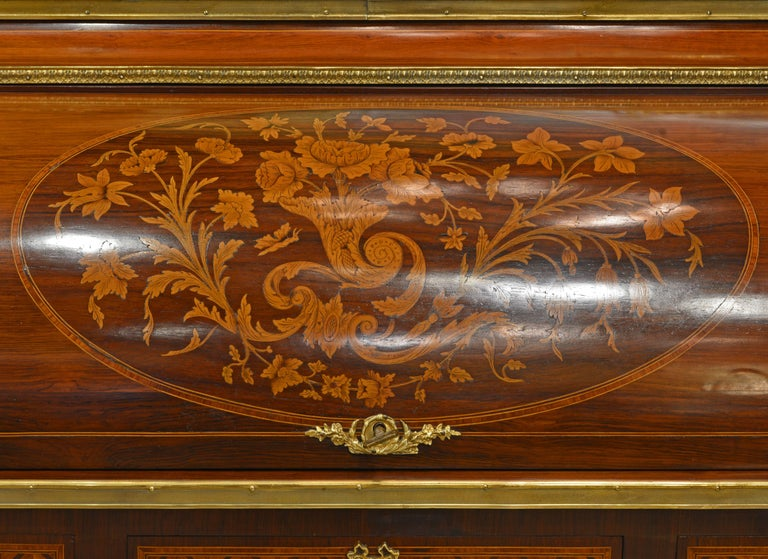 Superior 19th Century French Louis XVI Style Parquetry/Marquetry Cylinder Desk For Sale 1
