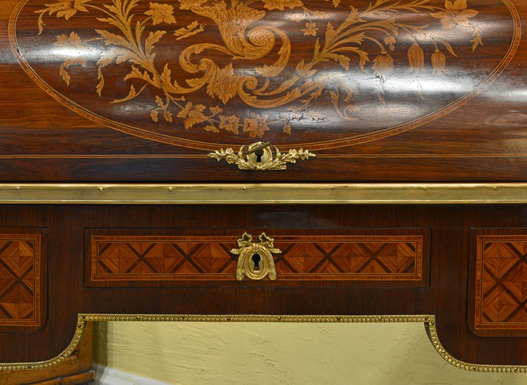 Superior 19th Century French Louis XVI Style Parquetry/Marquetry Cylinder Desk For Sale 2