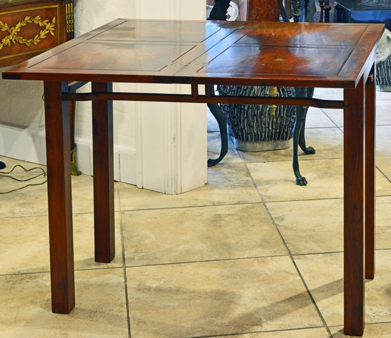 Asian Superior 20th Century Anglo-Chinese Style Brass Inlaid Hardwood Game Table