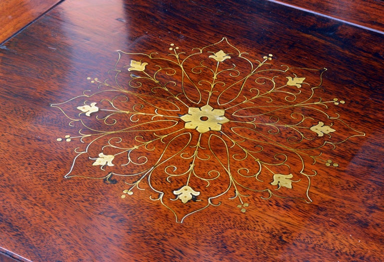 Superior 20th Century Anglo-Chinese Style Brass Inlaid Hardwood Game Table 2