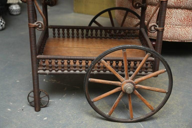 American Superior Antique Wicker Bar / Tea Cart For Sale