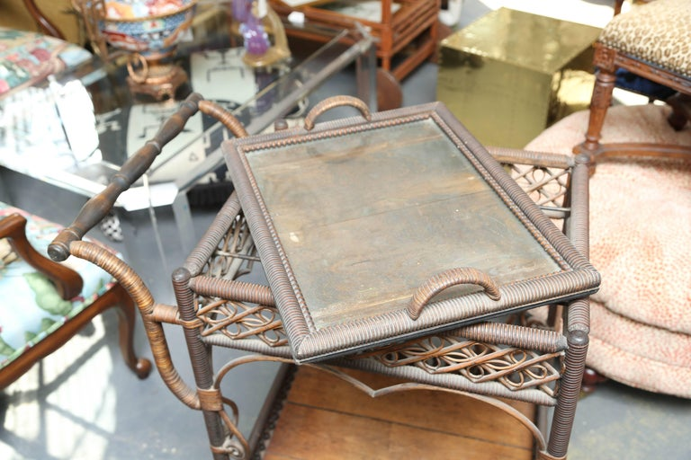 20th Century Superior Antique Wicker Bar / Tea Cart For Sale