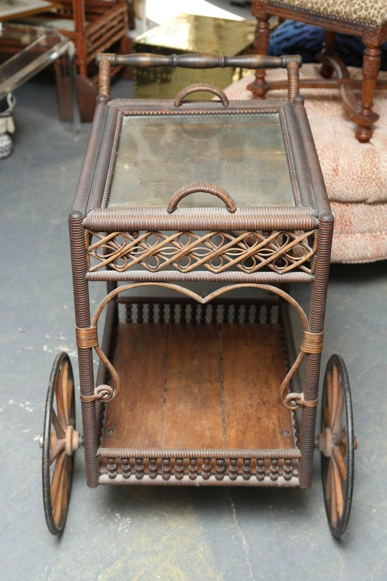 Superior Antique Wicker Bar / Tea Cart For Sale 1