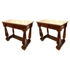 Superior Pair of 19th Century Italian Neoclassical Marquetry Console Tables