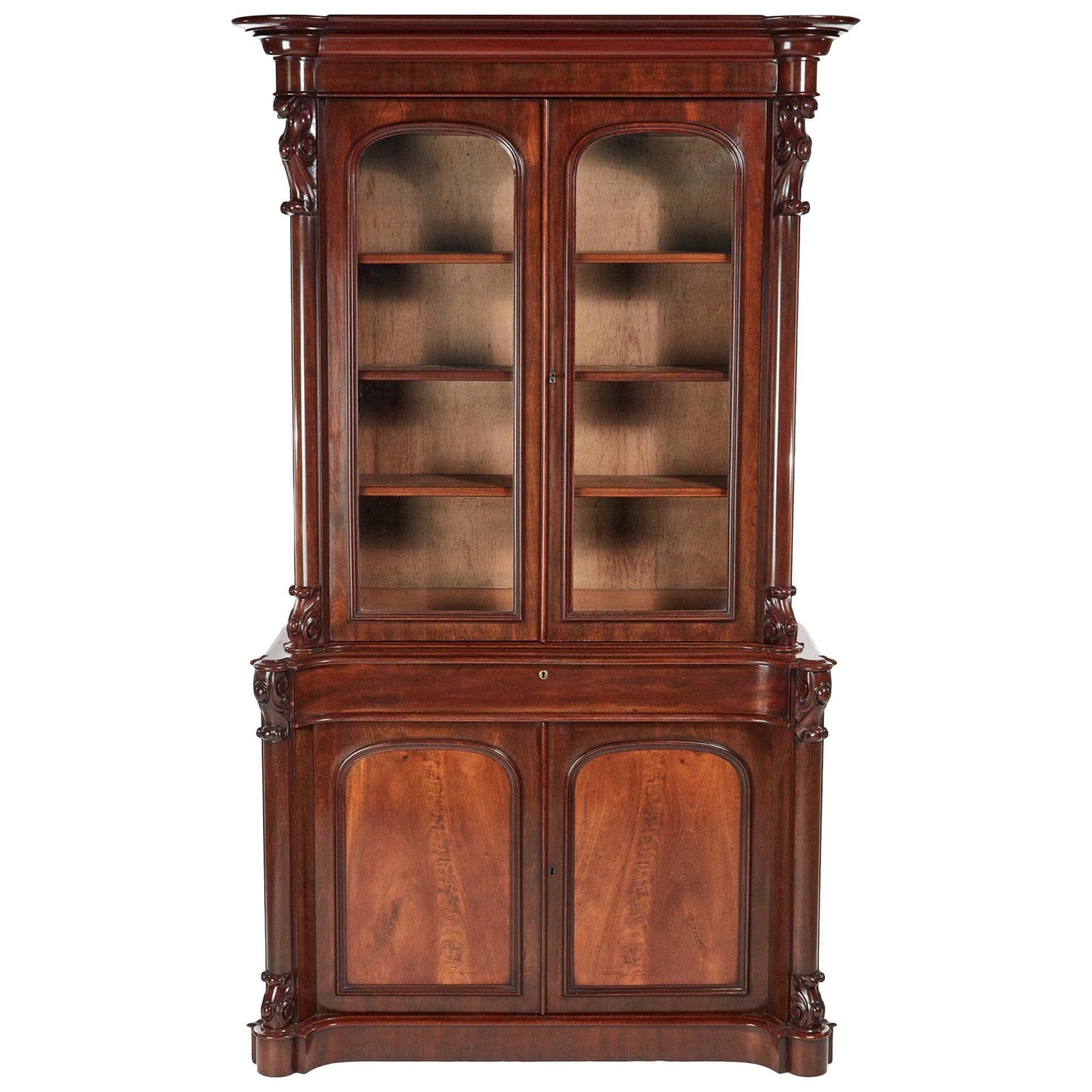Superior Quality Antique Victorian Carved Mahogany Bookcase