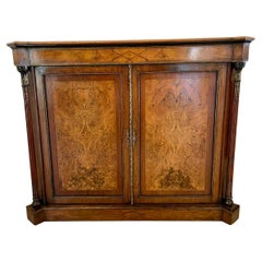 Superior Quality Antique Victorian Inlaid Burr Walnut Side Cabinet