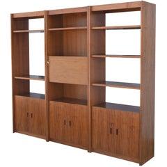 Superior Strength Danish Teak Three-Piece Bookcase with Drinks Cabinet
