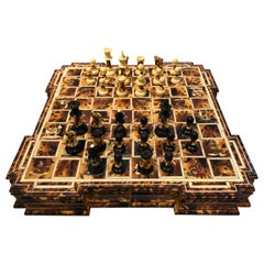 Superlative Faux Tortoise and Inlaid Chess Set