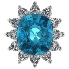 Superlative GIA Certified 10.50 Carat Paraiba Tourmaline Pear Cut Diamond Ring