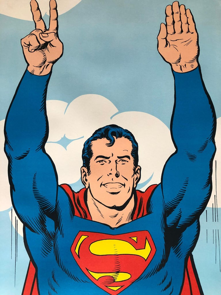 Superman 1971 Peace US Door Panel Vintage Poster In Excellent Condition For Sale In Bath, Somerset