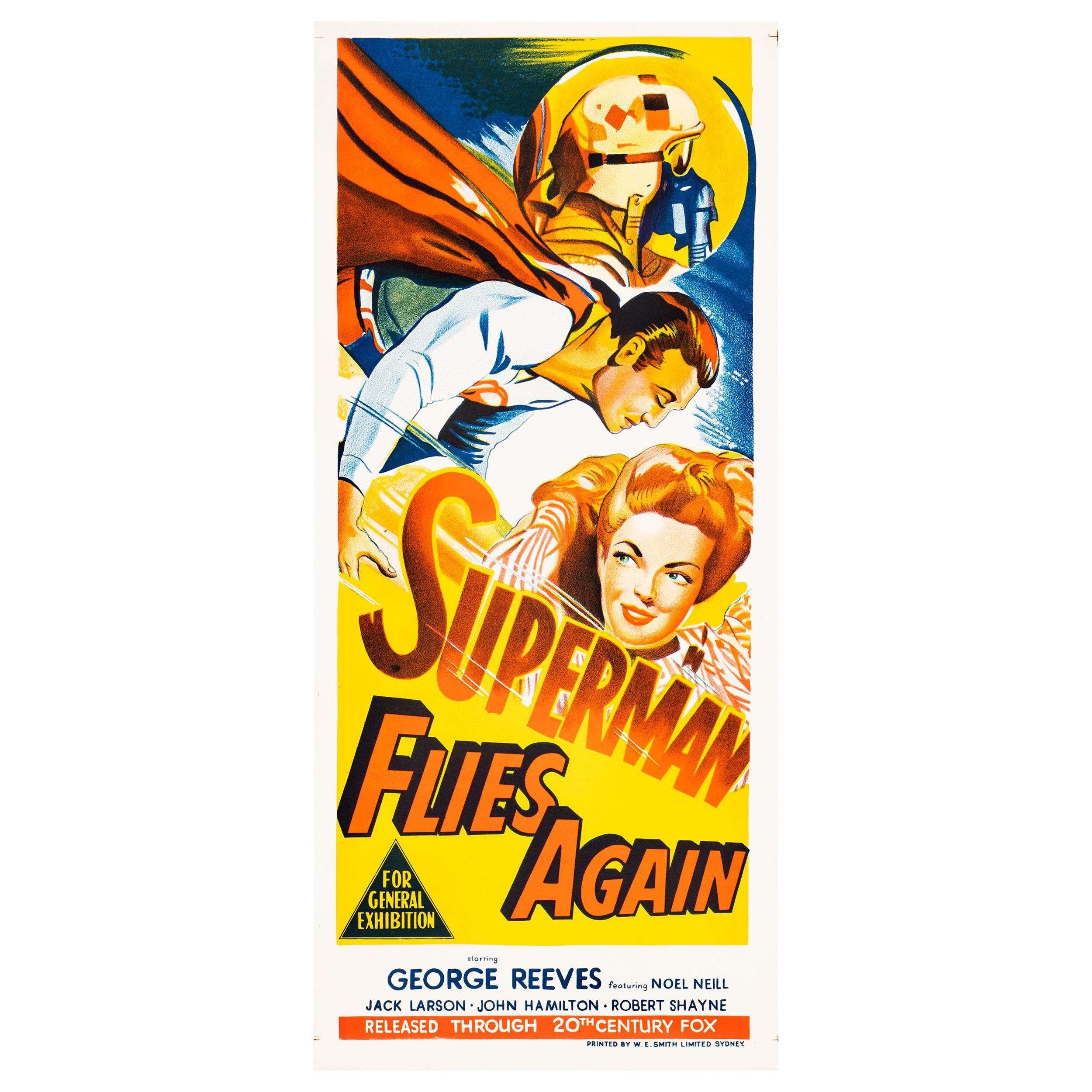 'Superman Flies Again' Original Vintage Australian Daybill Movie Poster, 1954