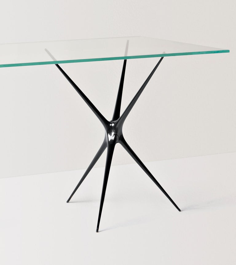 Minimalist Supernova, Recycled Cast Aluminum Black Trestles & Glass Desk by Made in Ratio For Sale