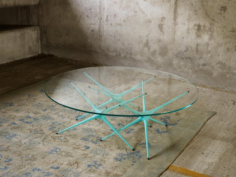 Contemporary Supernova, Recycled Cast Aluminum Table Leg in Seagreen by Made in Ratio For Sale