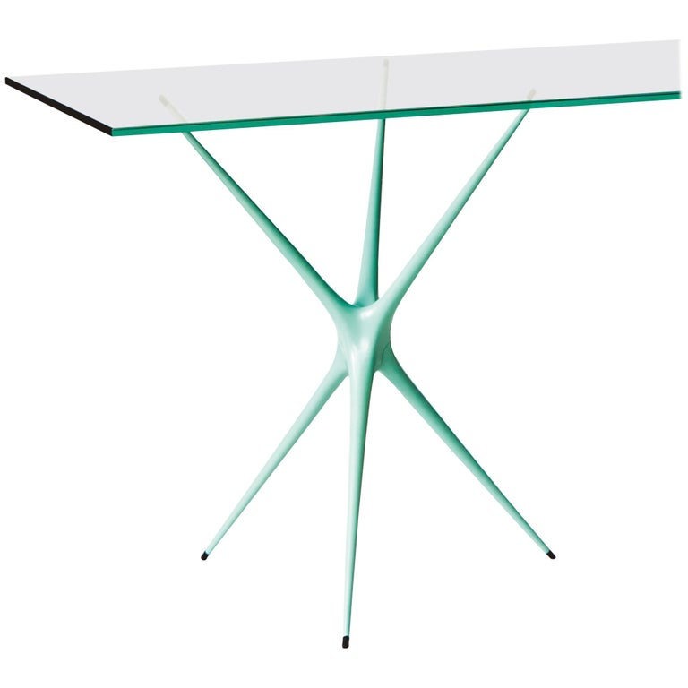 Minimalist Supernova, Recycled Cast Aluminum Table Leg in Seagreen by Made in Ratio For Sale