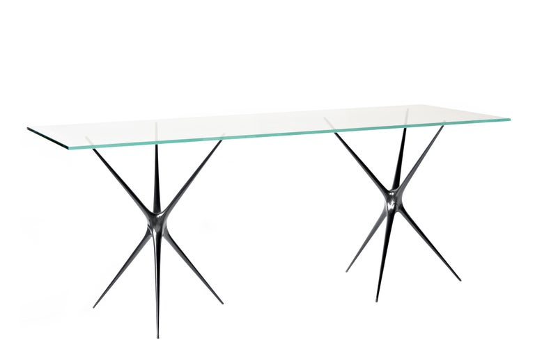 Supernova, Recycled Cast Aluminum & Glass Desk in Black by Made in Ratio For Sale 7