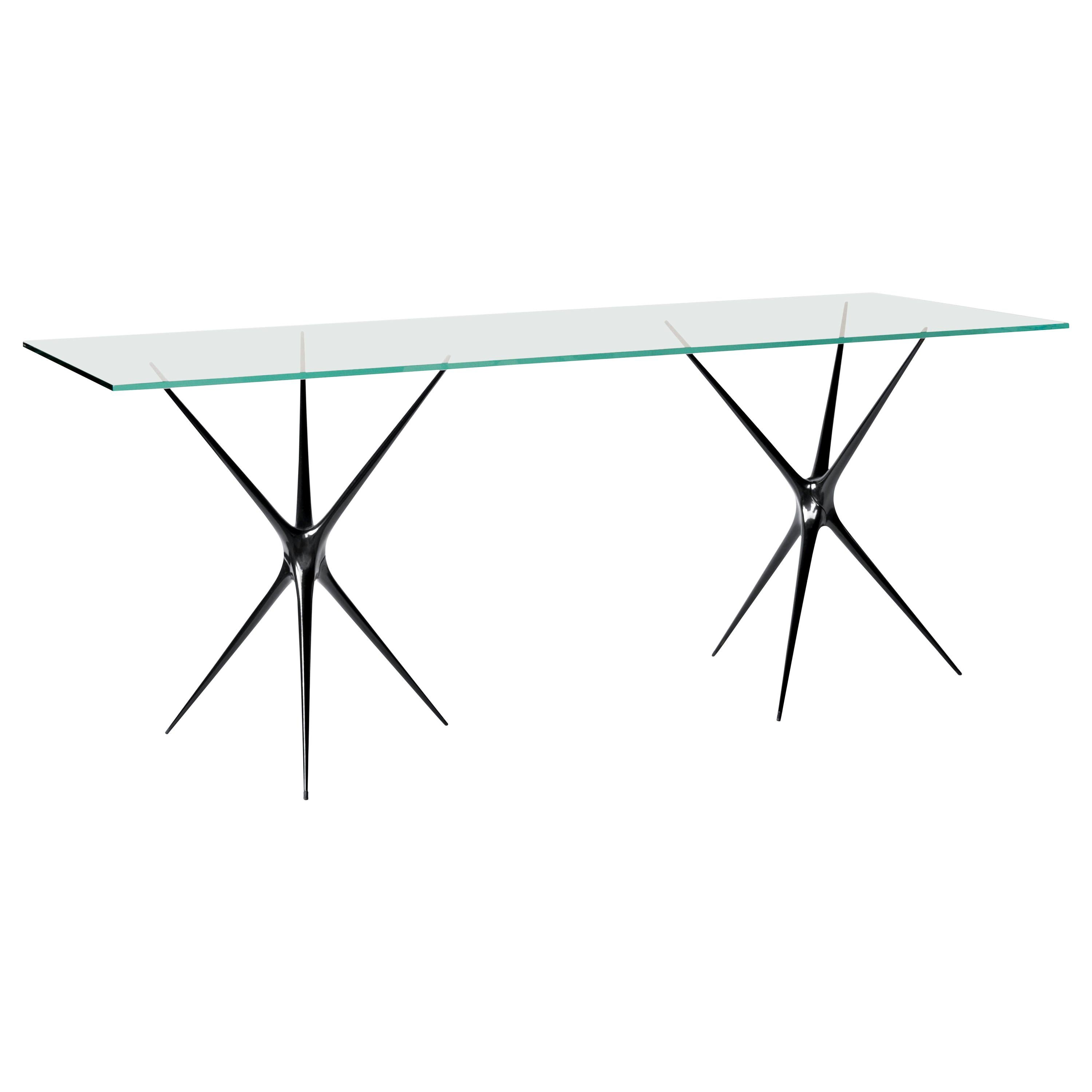 Supernova, Recycled Cast Aluminum & Glass Desk in Black by Made in Ratio