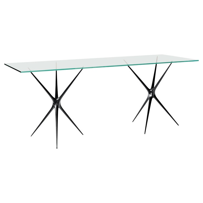 Supernova, Recycled Cast Aluminum & Glass Desk in Black by Made in Ratio For Sale