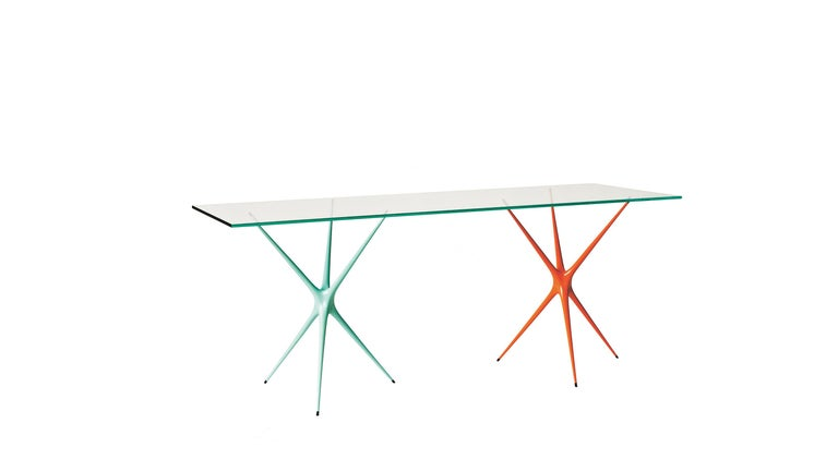 Supernova, Recycled Cast Aluminum Table Leg in Seagreen by Made in Ratio For Sale 2