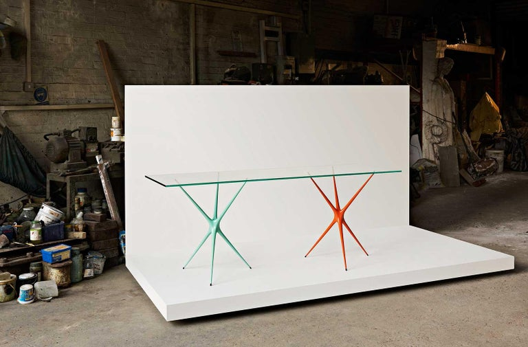 Supernova, Recycled Cast Aluminum Trestle Table Legs & Glass by Made in Ratio For Sale 8