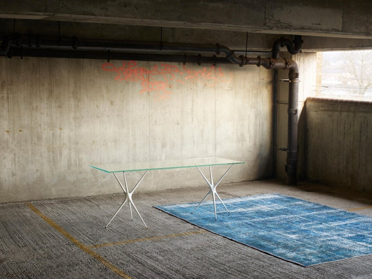 Supernova, Recycled Cast Aluminum Trestle Table Legs & Glass by Made in Ratio For Sale 3