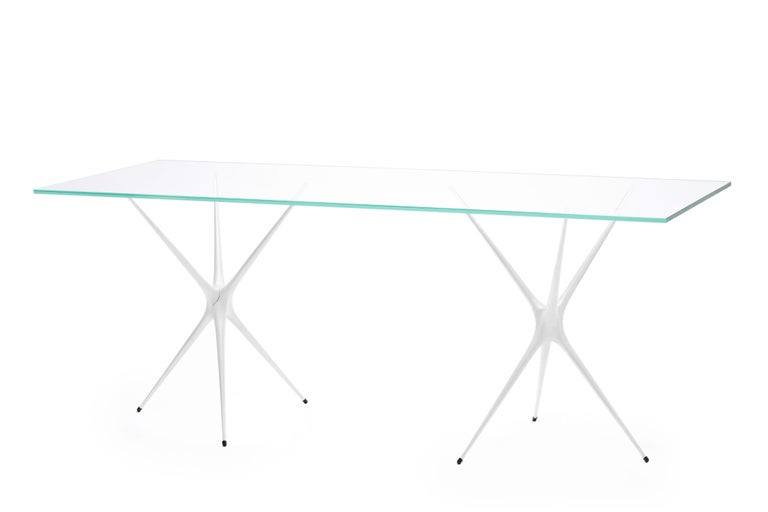 Supernova, Recycled Cast Aluminum Trestle Table Legs & Glass by Made in Ratio For Sale 5