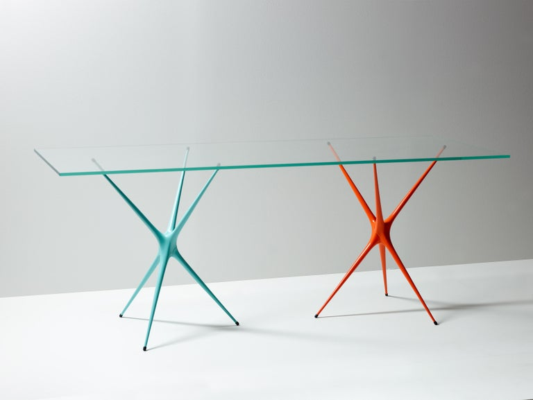 Supernova, Recycled Cast Aluminum Trestle Table Legs & Glass by Made in Ratio For Sale 6