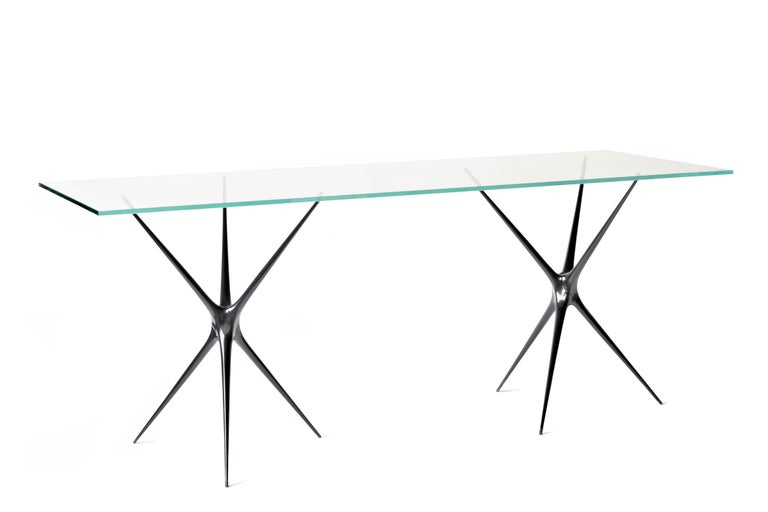 Supernova, Recycled Cast Aluminum Trestle Table Legs & Glass by Made in Ratio For Sale 7