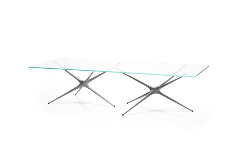 British Supernova, Recycled Cast Aluminum Trestle Table Legs & Glass by Made in Ratio For Sale