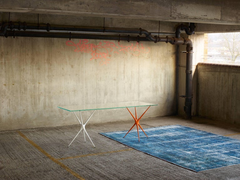 Contemporary Supernova, Recycled Cast Aluminum Trestle Table Legs & Glass by Made in Ratio For Sale