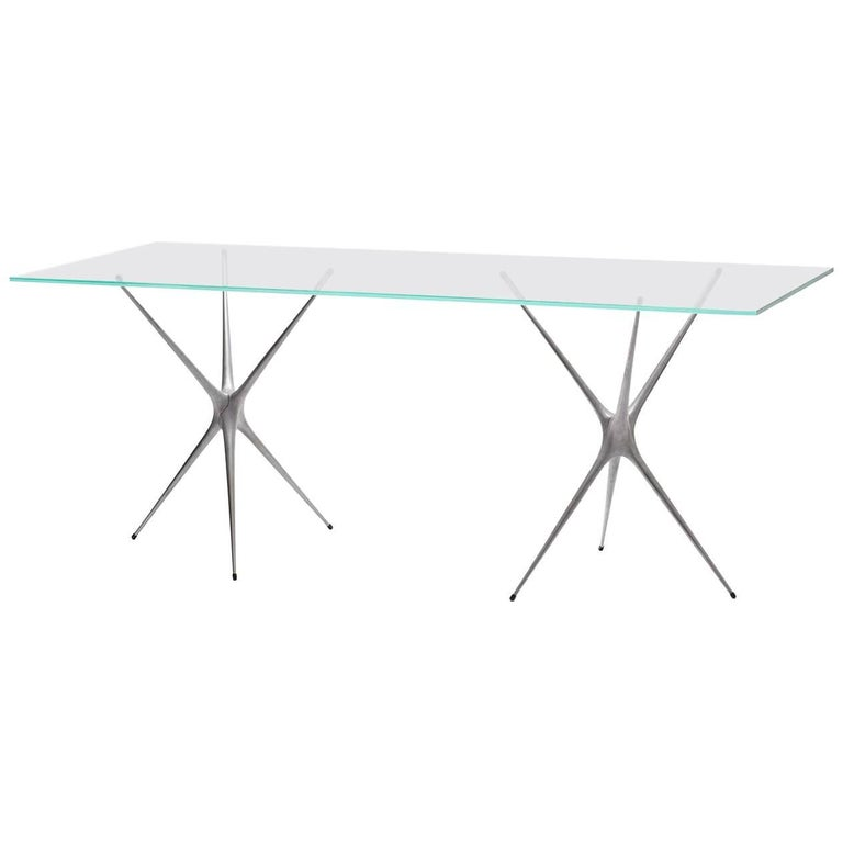 Supernova, Recycled Cast Aluminum Trestle Table Legs & Glass by Made in Ratio For Sale